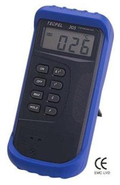 TERMOMETRO DIGITAL -50°C+1300°C ENTRADA SENCILLA CON PROTECTOR MARCA TECPEL MODELO DTM 305