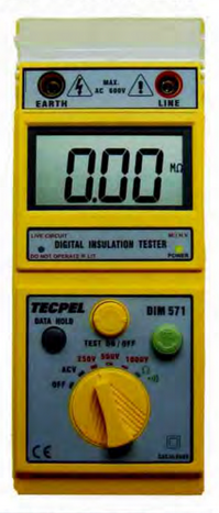 MEDIDOR DE AISLAMIENTO DIGITAL 250-500-1000 VDC 2000 MOHMS MARCA TECPEL MODELO DIM 571